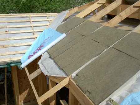 Укладка утеплителя на крышу каркасного дома