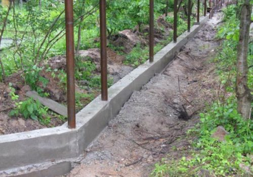 Ленточный фундамент под забор