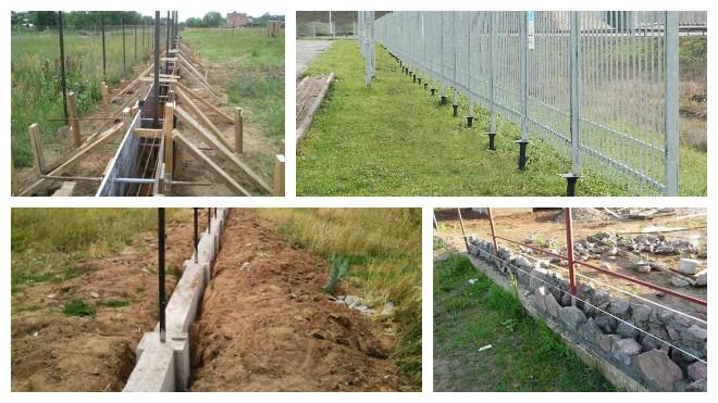 Виды фундаментов под забор