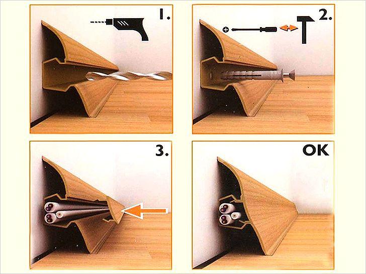Крепление плинтуса с помощью дюбель гвоздя или самореза