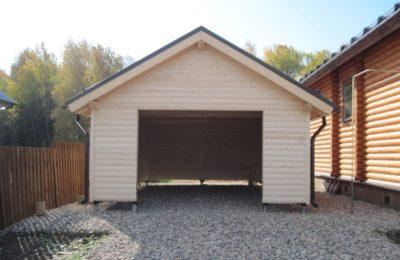 Пример гаража (навеса) на свайном фундаменте