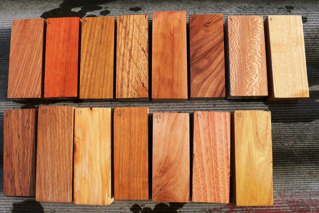 Бруски различных пород древесины