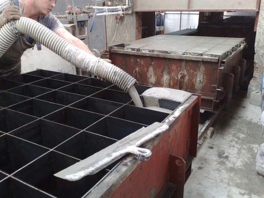 Производство пеноблоков путем заливки