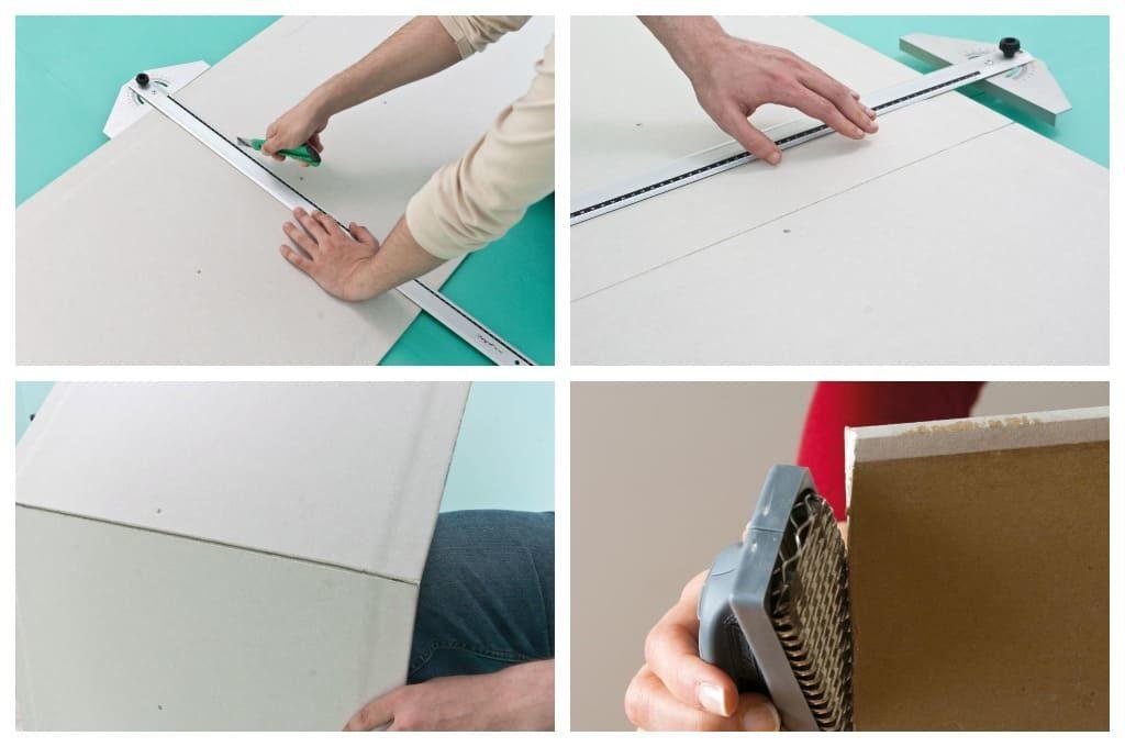 Этапы отрезания необходимых кусков гипсокартона для отделки откоса окна.
