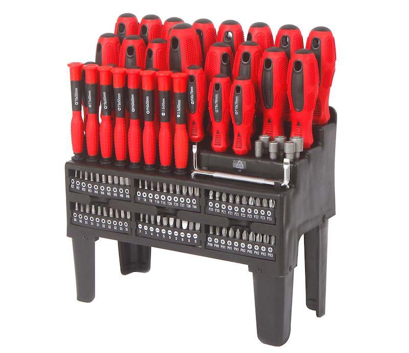 набор отверток WORKPRO 100 в удобном держателе – множество разнообразных отверток, бит и головок