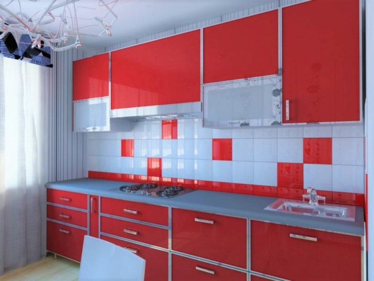 Фартук для красного кухонного гарнитура
